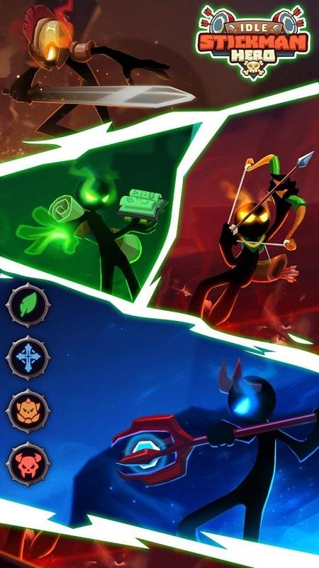 Idle Stickman Heroes mod game