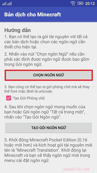 Cài tiếng Việt trên Minecraft PE
