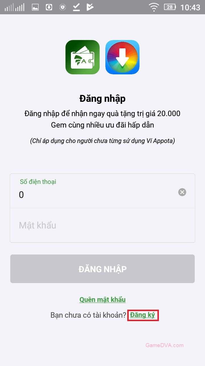 Đăng ký tài khoản trên Appota